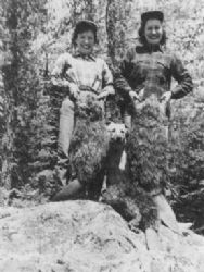 Betty and Janette with a beaver from the trapline